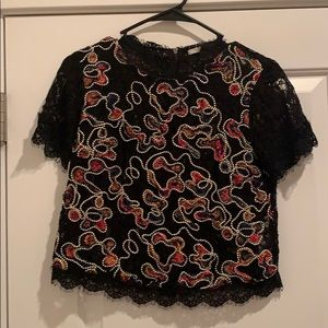 Lace detailed short sleeve Zara blouse